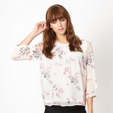 Red Herring - Cream floral embellished chiffon blouse