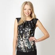 Black satin butterfly button top