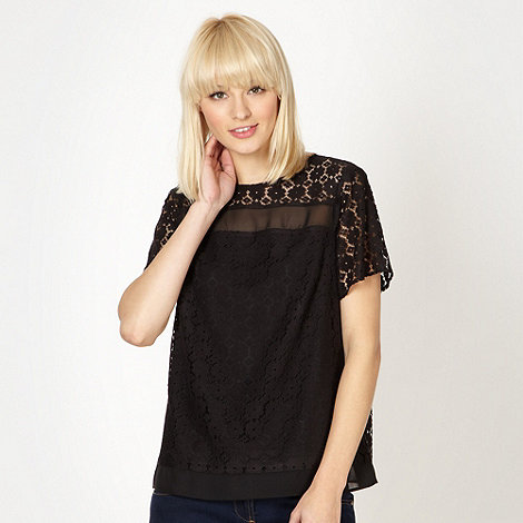 Red Herring - Black sheer insert lace top