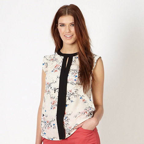 Red Herring - Ivory oriental floral shell top