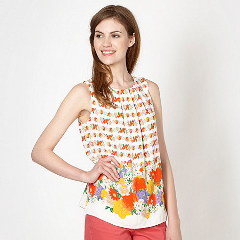 Red Herring - Ivory floral border shell top