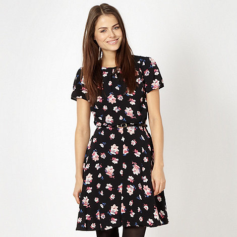 Red Herring - Black floral chiffon tea dress