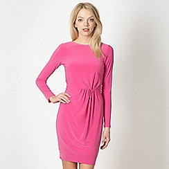 Red Herring - Pink jersey ruched plain dress