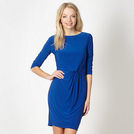 Red Herring - Royal blue jersey ruched plain dress