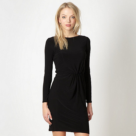 Red Herring - Black jersey ruched plain dress