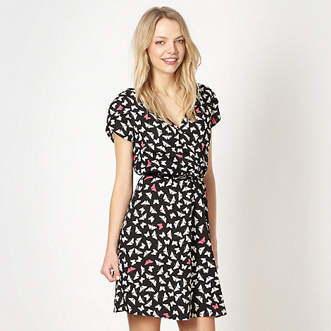 Red Herring - Black butterfly wrap dress