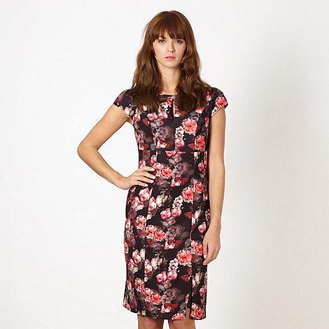 Red Herring - Black digital floral shift dress