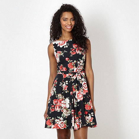 Red Herring - Black graphic rose prom dress