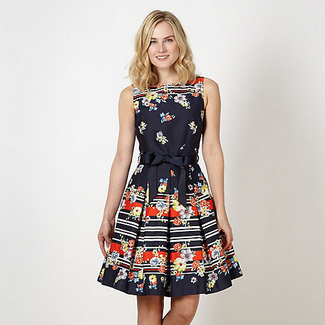 Red Herring - Formal navy scarf print prom dress