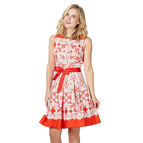 Red Herring - Formal orange lace print prom dress