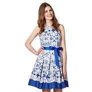 Royal blue floral print prom dress