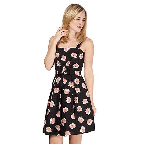 Red Herring - Black pansy print prom dress