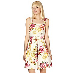 Red Herring - Ivory tropical floral prom dress