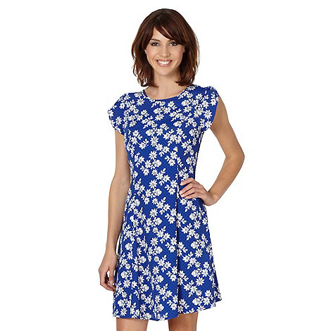 Red Herring - Royal blue floral spotted tea dress