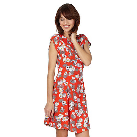 Red Herring - Red daisy print tea dress