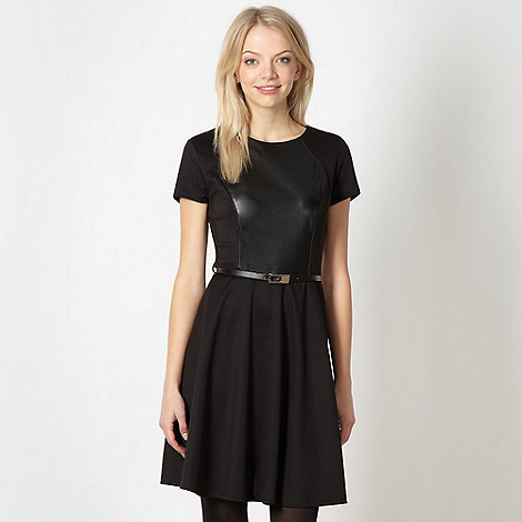 Red Herring - Black PU panel skater dress