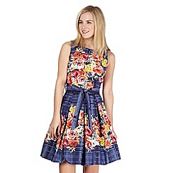 Red Herring - Navy checked floral prom dress