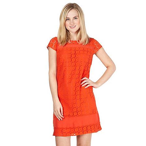 Red Herring - Orange sheer insert lace dress