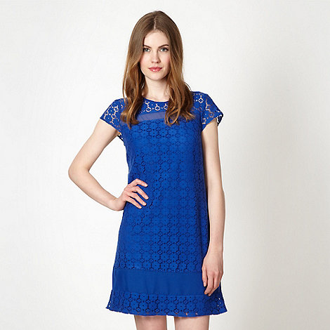 Red Herring - Royal blue sheer insert lace dress