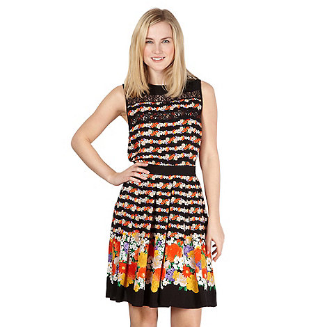 Red Herring - Black floral border dress