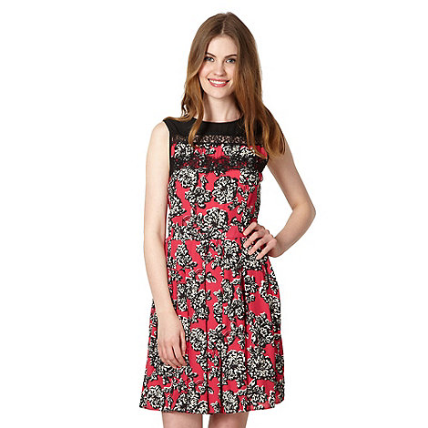 Red Herring - Dark pink floral lace dress