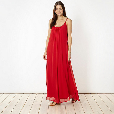 Red Herring - Red necklace trim maxi dress
