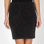 Black glitter knee skirt