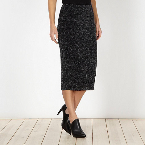 Red Herring - Black glitter midi skirt