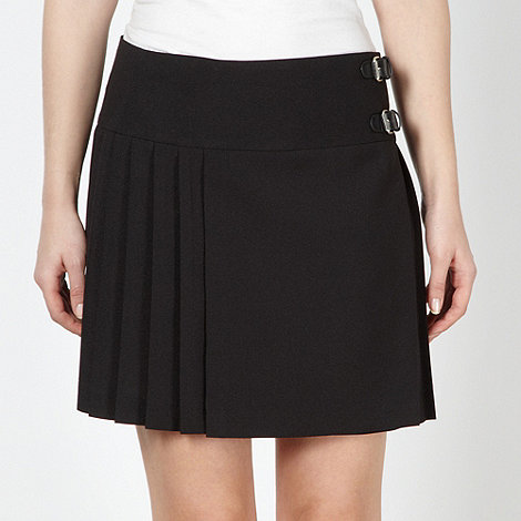 Red Herring - Black pleated double buckle mini skirt