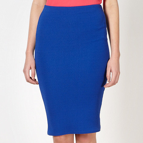 Red Herring - Royal blue textured pencil skirt