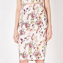 Red Herring - White graphic blossom pencil skirt