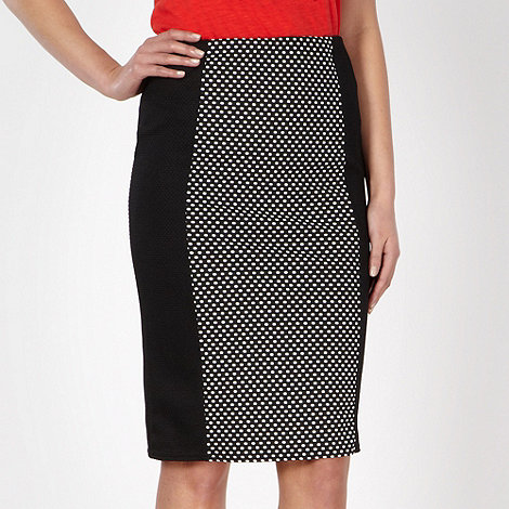 Red Herring - Black spotted textured pencil skirt