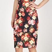 Black graphic rose scuba pencil skirt