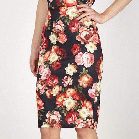 Red Herring - Black graphic rose scuba pencil skirt