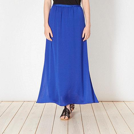 herring royal blue hammered satin lace maxi skirt