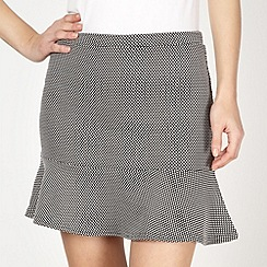 Red Herring - Black textured flared hem skirt