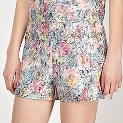 Red Herring - Pink jacquard floral shorts