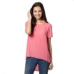 Red Herring - Pink pleated back dipped hem top