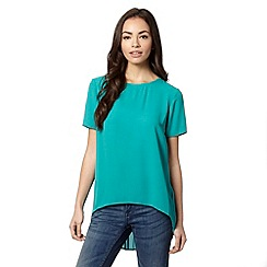 Red Herring - Green pleated back dipped hem top