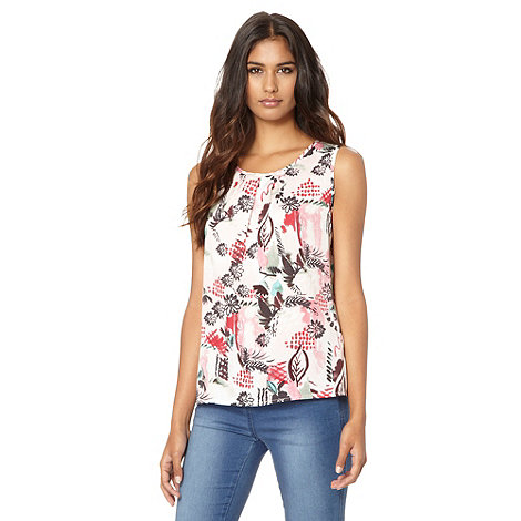 Red Herring - Pale pink brush stroke floral shell top