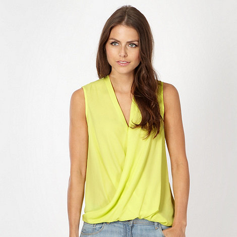 Red Herring - Neon yellow sleeveless wrap top