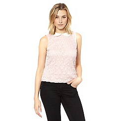 Red Herring - Pale pink two tone lace top