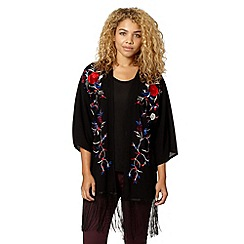 Red Herring - Black floral embroidered kimono
