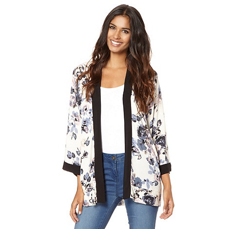 Red Herring - Cream colour block floral print kimono