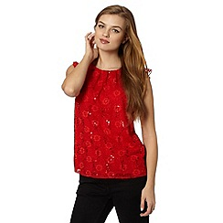 Red Herring - Red sequin lace front top