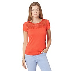 Red Herring - Dark peach lace insert top