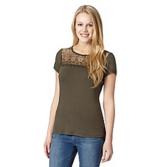 Red Herring - Khaki lace insert top