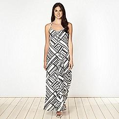 Red Herring - Black barcode printed maxi dress