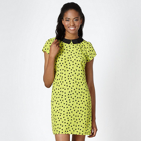 Red Herring - Lime palm tree print collared dress