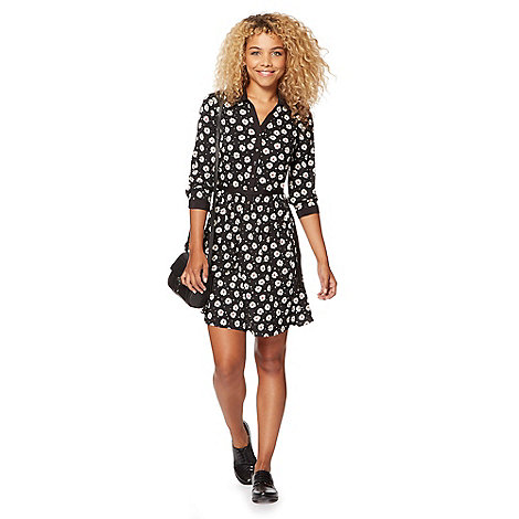 Red Herring - Black daisy patterned shirt dress